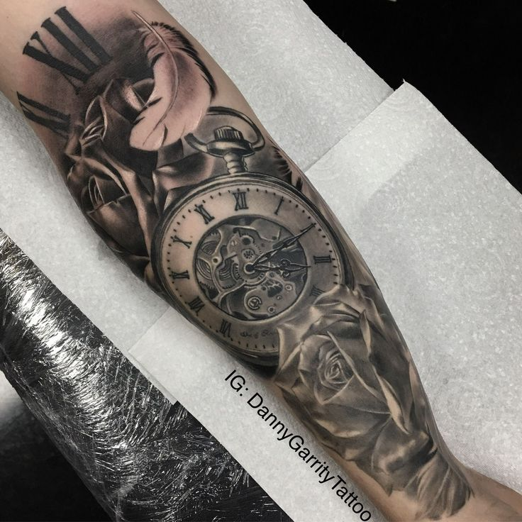 Watch Sleeve Tattoo: Rose, Feather, And Pocket Watch Tattoo Design For Men