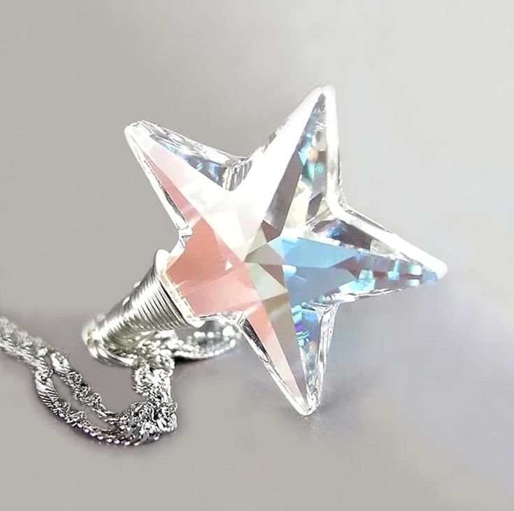 Crystal Star Necklace Sterling Silver Aurora Borealis Swarovski Clear Crystal Star Pendant Necklace North Pole Star. $36.00, via Etsy.