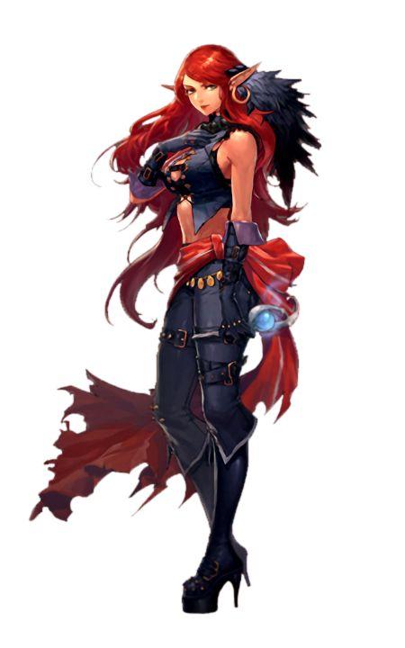 Female Redhead Elf Sorcerer - Pathfinder Pfrpg Dnd Dd 35 -9919