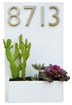 """Metal Wall Planter & Address Plaque - 20"""" x 12"""" Vertical, White, With Numbers midcentury house numbers"""