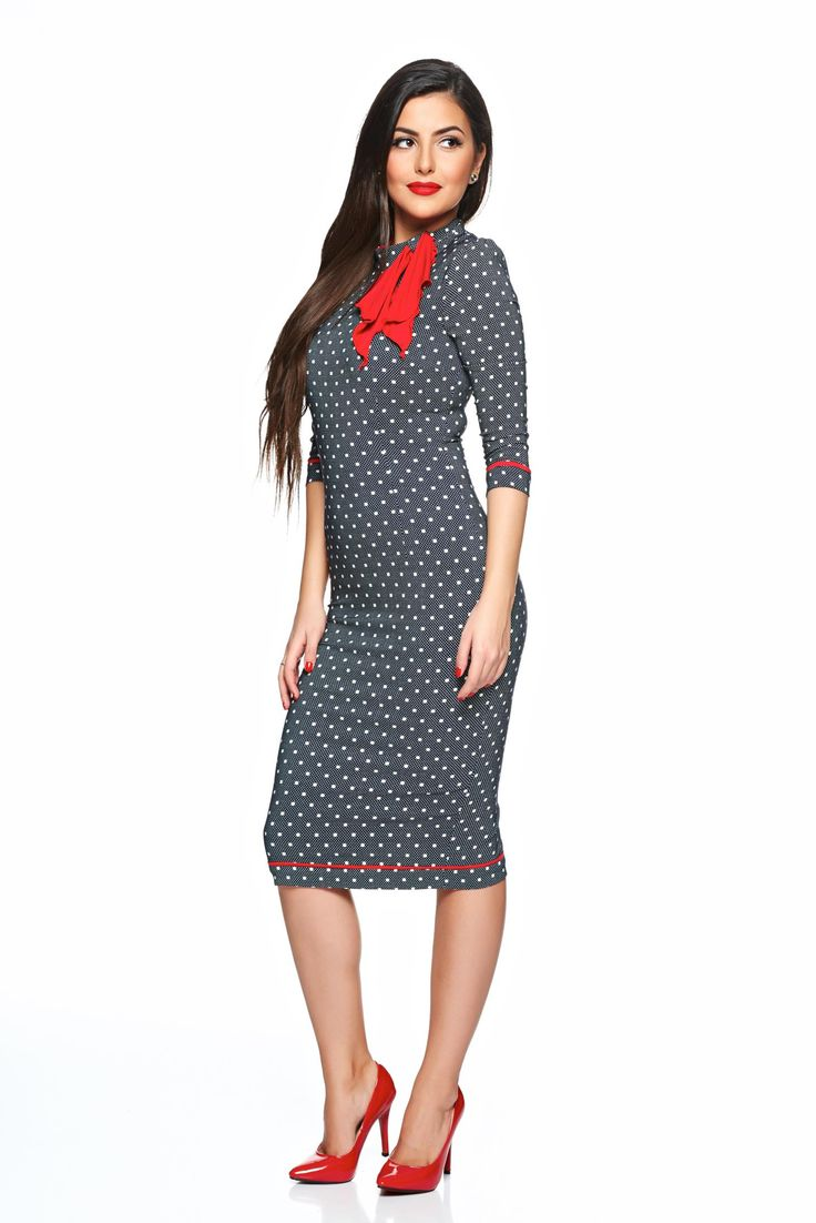 Fofy Best Impression DarkBlue Dress, women`s dress, back zipper fastening, one back botton fastening, 3/4 sleeves, dots print
