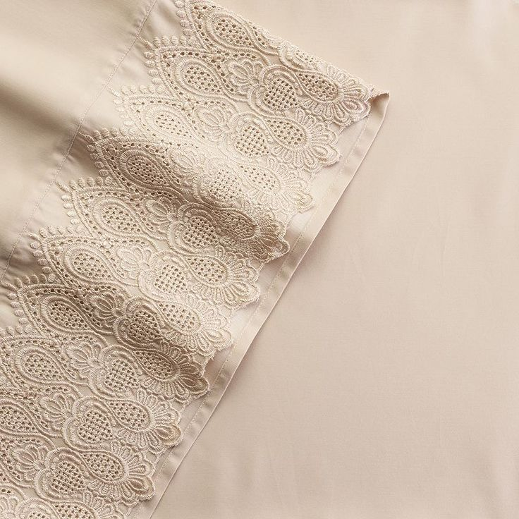 Grand Collection Queen Anne Lace 600 Thread Count Sheet Set, Natural Cal King