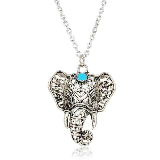 Bohemian Elephant Blue Stone Pendant Necklace