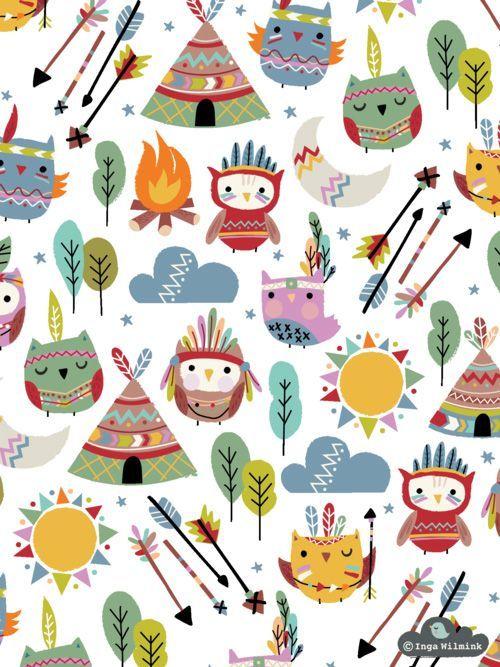Teepee Owls by Inga Wilmink