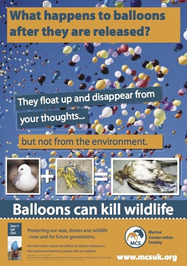 Never let a balloon float into the atmosphere.