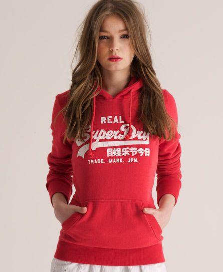 Womens - Vintage Hoodie in Soda Pop Red   Superdry