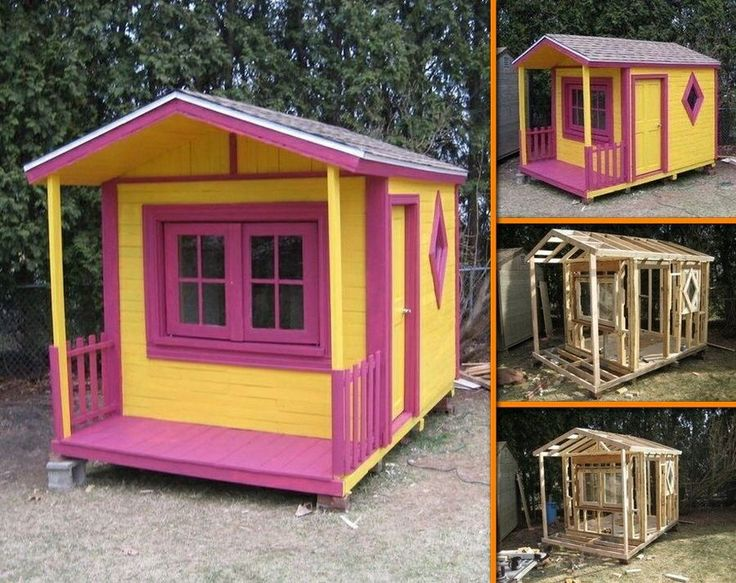Girls wendy house out of pallets wendy and dolls for Wooden wendy house ideas