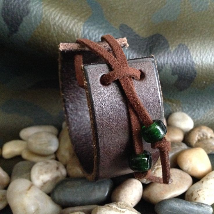 Mens leather cuff bracelet with glass beads (made with recycled belt leather).