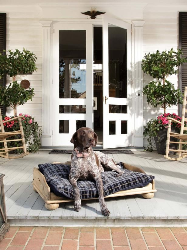 Front Porch Decorating Ideas From Around the Country: The emguard/em dog can welcome guests to the front porch. The furniture shown here is from Kincaid Furnitures Homecoming Vintage Pine collection. From DIYnetwork.com