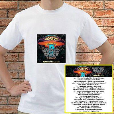Boston + Joan Jett Hyper Space tour concert 2017 white tees; Tshirt 100% Cotton; Available Men's size S-3XL;