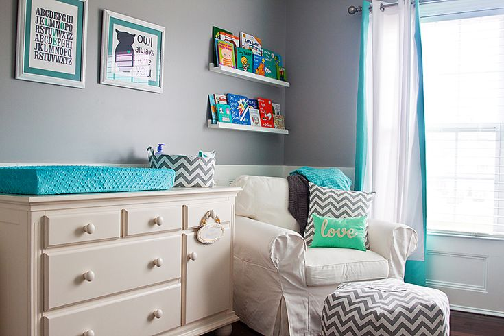 Nursery ideas. Gray walls with pops of color.