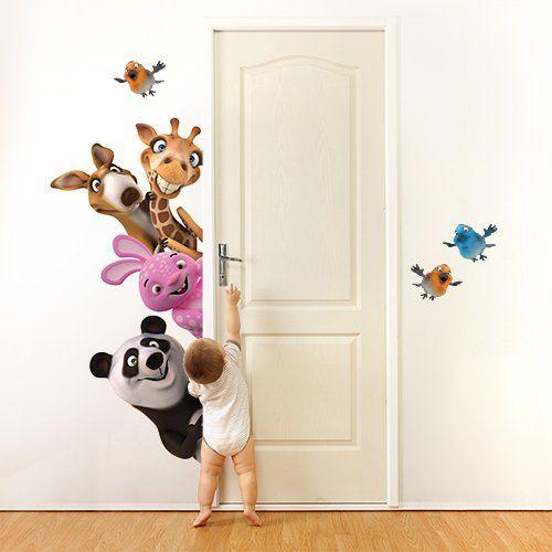 """Adesivo murale per bambini Wall Art """"Animaletti nascondino"""" - Misure 120x59 cm - Decorazione parete, adesivi per muro, carta da parati"""