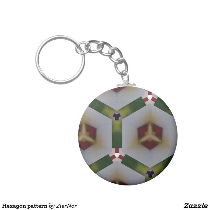Hexagon pattern basic round button keychain