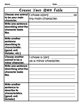 This activity provides scaffolding for students to create their own fable.  All elements of the fable are included.  *Please review me!*