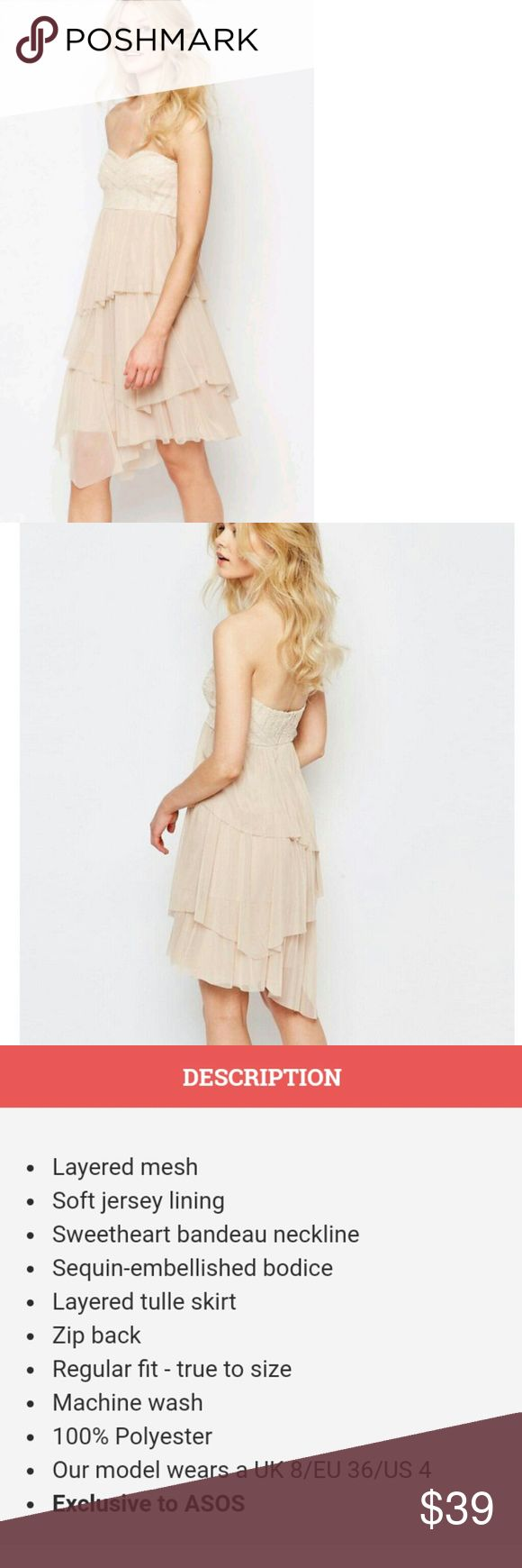 Zack Petite Dress With comes with our Boutique sales tag this unit is brand new it is a nude color this is a UK 10 and a US 6 dress by John Zack Petite distributed by Asos ASOS Petite Dresses