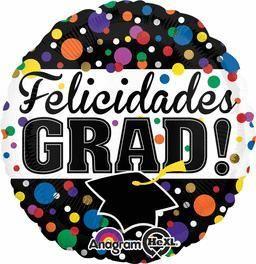 Felicidades Grad -Non-Pkg foil balloon (5ct)