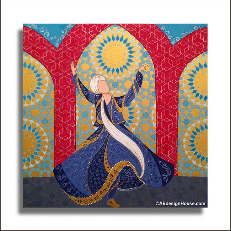 Original Painting Whirling Dervish Sufi Dance Rumi Miniature - AESMPM0042