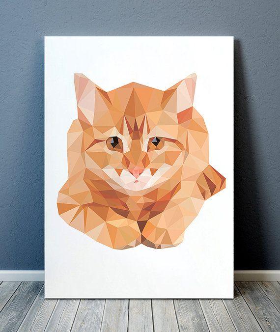 Cat poster Pet print Animal print Geometric decor TOA186