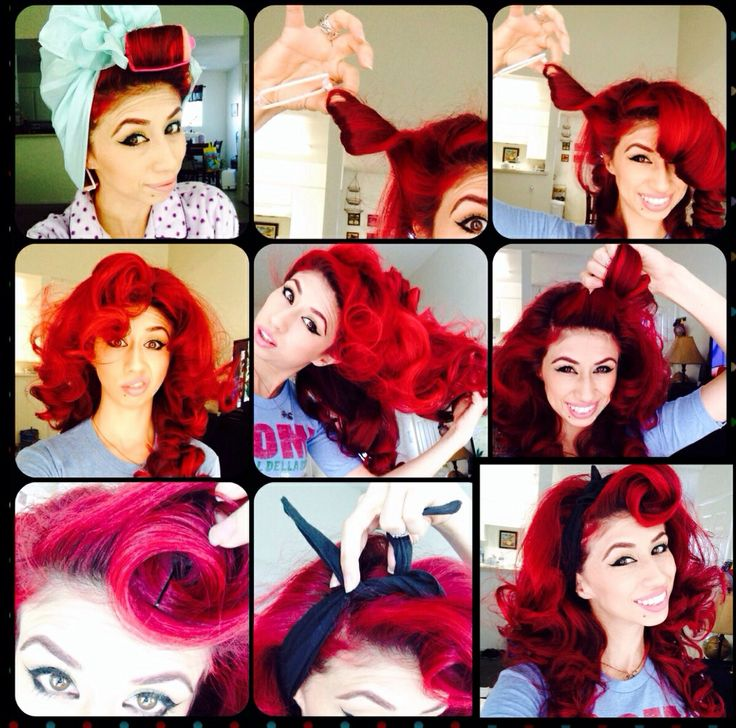 Pin up hair. Vintage hair. Rockabilly style. Fast hair do. Rockabilly hair tutorial.   1. Put sponge curlers on to dry hair. ( slightly damp hair tips)  I usually put about seven curlers 2. Put a hair scarf  3. Go to sleep.   4. Next day pull the curlers off the direction you put them in   5. Comb hair with fingers.   6. Grab a triangle section of hair in front for bangs. Curl them in and pin them.   7.  Tie a head scarf or bandana.    All done!  This takes no more than 5 min in the morning…
