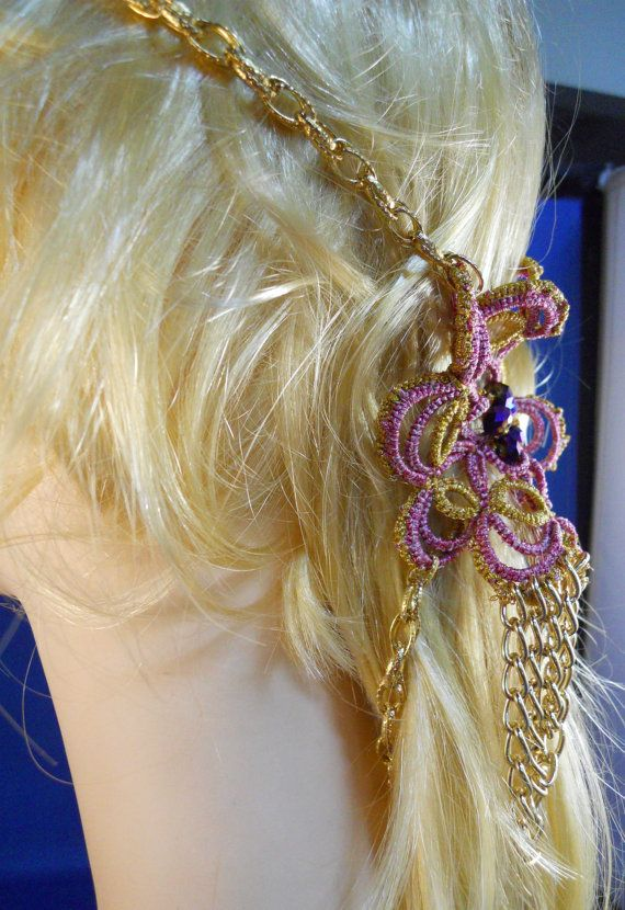 Tatted Hairpiece in Pink and Gold with Purple by MummyearthDesigns