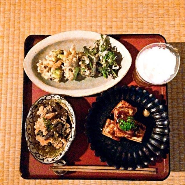 卯の花 セリの天ぷら そら豆の天ぷら 豆腐田楽 - 57件のもぐもぐ - 今夜のツマミ by ツル