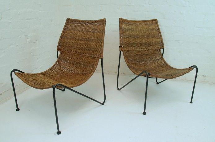 Attrib. Frederick Weinberg Chairs Iron and Wicker, USA c.1950