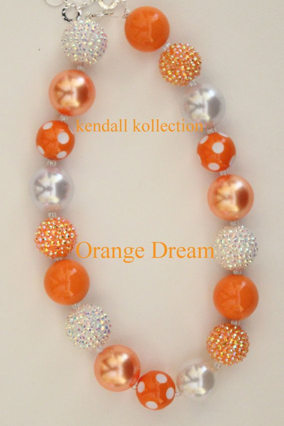 """Orange Dream"" Chunky Beaded Necklace for women, girls, kids"