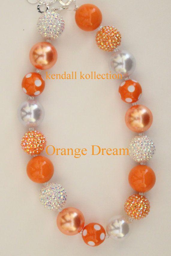 """""""Orange Dream"""" Chunky Beaded Necklace for women, girls, kids"""