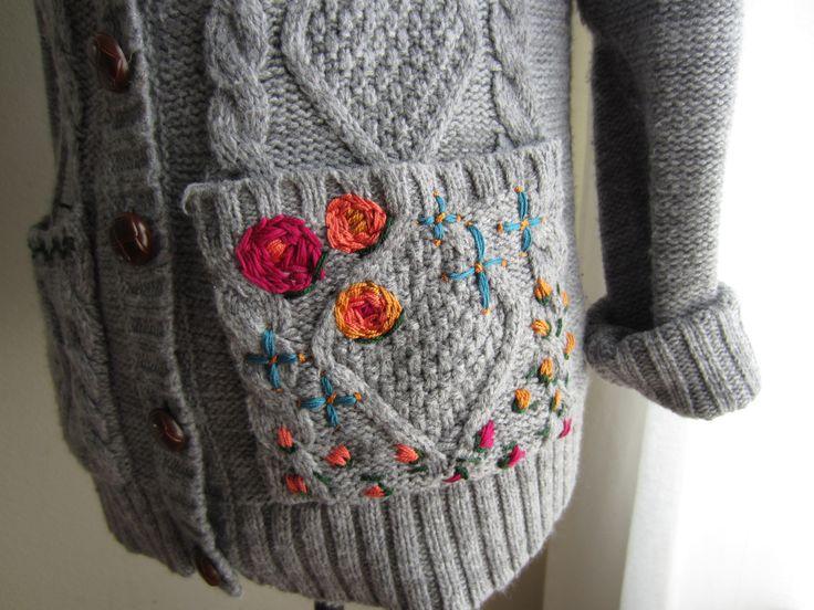 diy embroidered cardigan