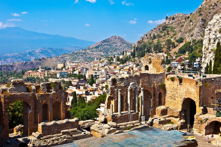 The theater at Taormina, one of the best—and most beautiful!—ancient ruins in Sicily