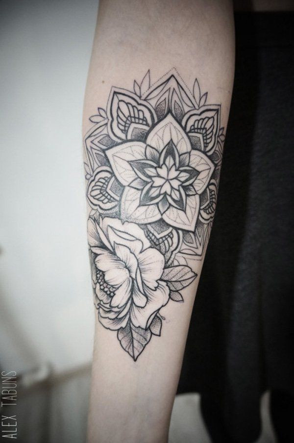Mandala and Flower Tattoo - 30+ Intricate Mandala Tattoo Designs  <3 !