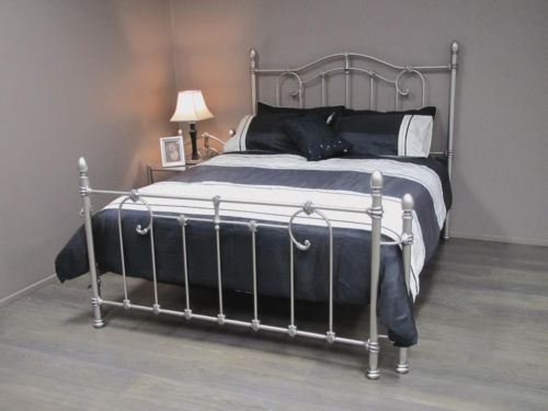 QUEEN-SIZE-Bed-Brushed-Silver-Cast-Iron-Powdered-Coated
