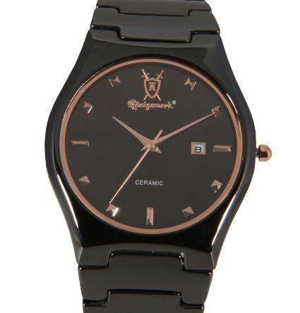 Mens Black Ceramic Watch Rose Gold Bezel Hour Markers Date Konigswerk CQ35G: Watches: Amazon.com $99