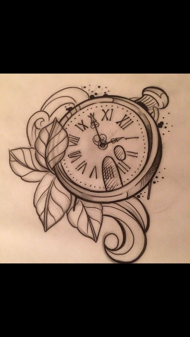 29 best vintage clock tattoo outline images on pinterest