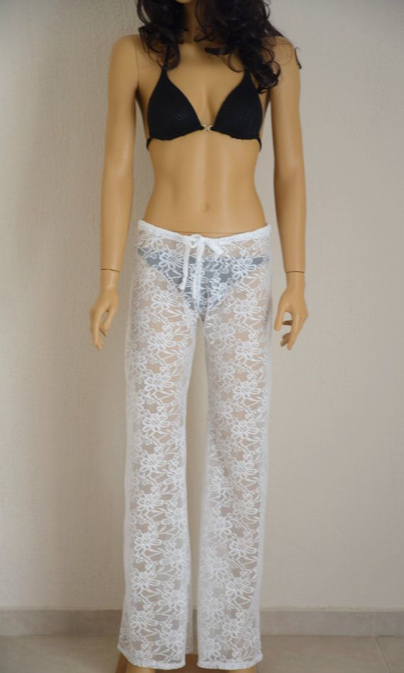 Crochet lace boho solid white beach pant yoga pant by bstyle