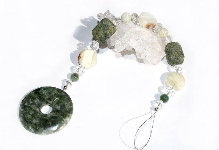 Suncatcher grüner Achat Donut Onyx Jade Edelsteine 33cm Sonnenfänger Glas Kristall Anhänger Fensterschmuck Fensterkette Dekoration Geschenk von CreativeWithHeart auf Etsy