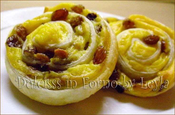 Girelle crema e uvetta, ricetta per la colazione o merenda ricetta dolce crema pasticcera e uvetta ricetta per colazione ricetta golosa ricetta facile ricetta veloce Dulcisss in forno