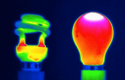 Emisión de calor de una bombilla de bajo consumo (izquierda) y una incandescente