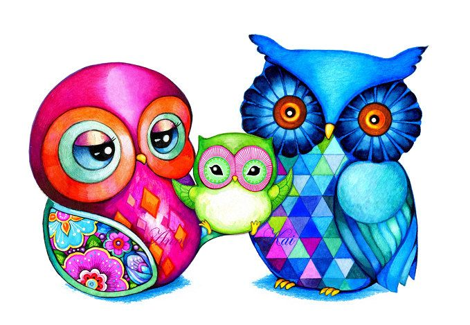 Mothers Day Gift - Mom and Baby Owl Happy Family - Colorful Bird Owl Wall Art - NEW Illustration Print by Annya Kai