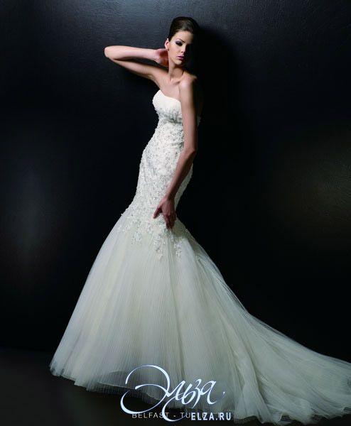 Cвадебное платье Belfast: фасон годе (русалка, рыбка, трампет), длинное платье, с вырезом сердечком, с непышной юбкой, со шлейфом, модель до 2016 года, без рукавов, платье, в ограниченном количестве