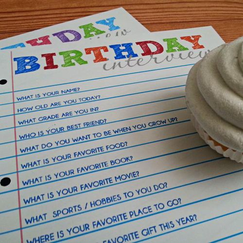 Birthday Interview Free Printable or first day of school.