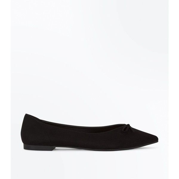 6be03a98b1a Black Suedette Bow Front Pointed Ballet Pumps ( 18) ❤ liked on Polyvore  featuring shoes