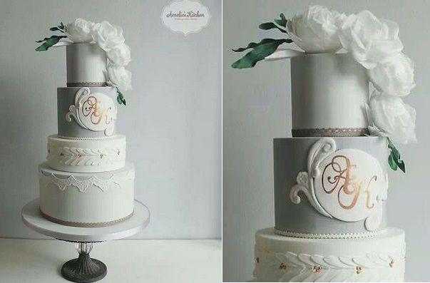 gray wedding cake by Amelie's Kitchen vintage style