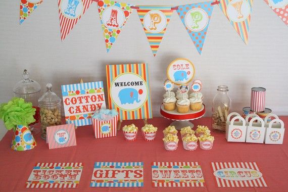 Circus Carnival Big Top Birthday Printable Party Package Includes custom invite and thank you by DimplePrints