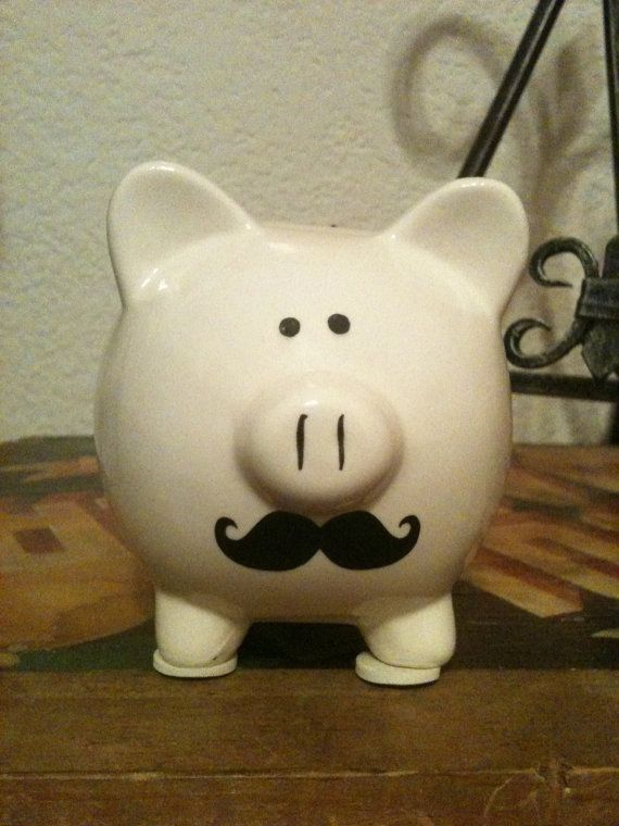 Moustache Piggie Bank by maggiejanesplace on Etsy