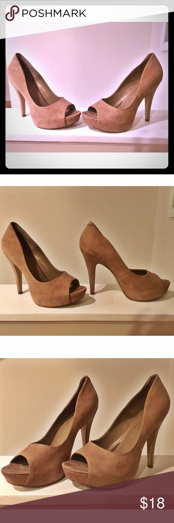 Nude, suede peep-toe heels 🍒 Suede pee toe heels that go with everything with their classy nude color. Peep toe can be great for the summer or early fall! Worn once or twice to an occasion. Make me an offer! 🌟 Jessica Simpson Shoes Heels