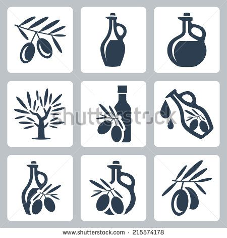 Olive oil related vector icons set