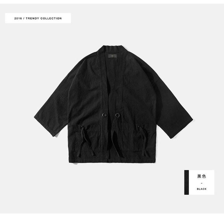 Mens kimono japanese clothes streetwear fashion casual kanye west black kimonos jackets harajuku japan style cardigan outwear (7)