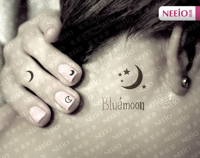 Nat062 Neeio bricolaje pequeña luna Bluemoon estrellas para el brazo y mano para mujer dedo productos del sexo impermeables etiquetas engomadas del tatuaje