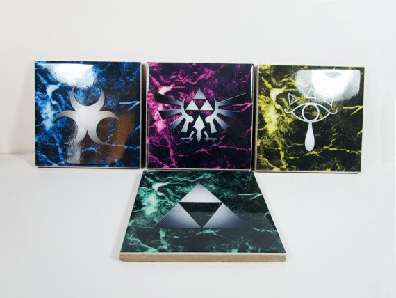 Legend of Zelda symbols coasters Set of 4 by TerryTiles2014